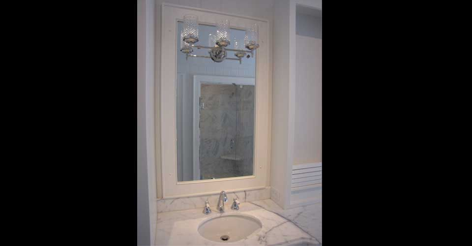sink with tall mirror