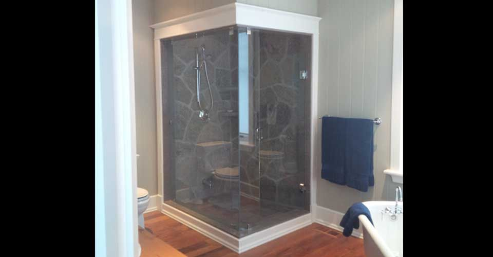 glass shower enclosed