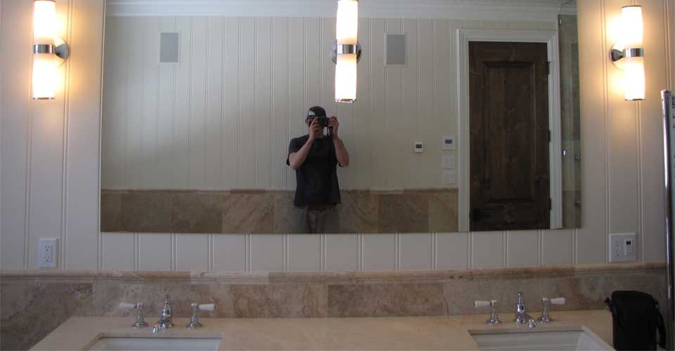 Large mirror over sink